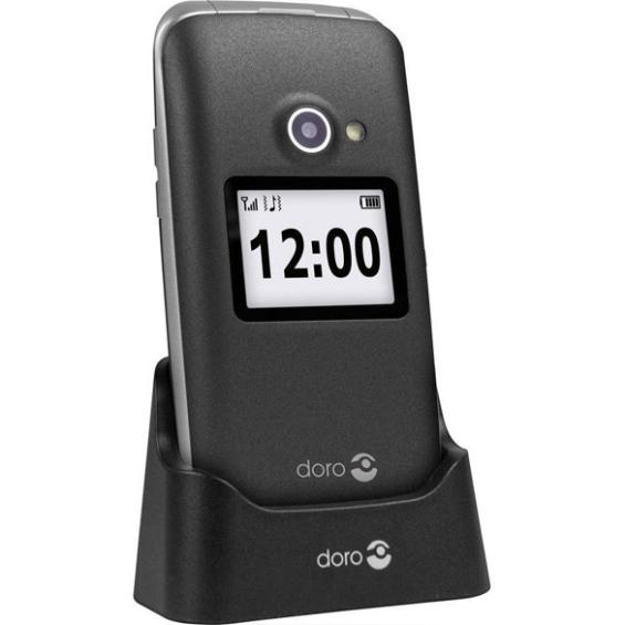 Doro 2424 klaptelefoon - antraciet-wit + Gratis hoesje