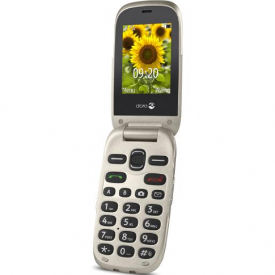 Doro 6030 GSM klaptelefoon - Champagne/wit + hoesje t.w.v. 19,95