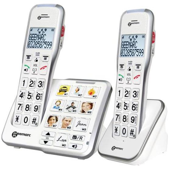 Duo DECT telefoon met cijfers en foto toetsen | Geemarc 595-2