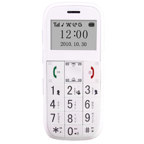 Senioren mobiel met GPS en noodknop - Wit