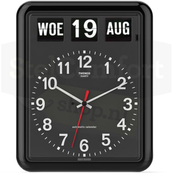 Kalenderklok - Twemco BQ-12 - Zwart | Laagste prijsgarantie