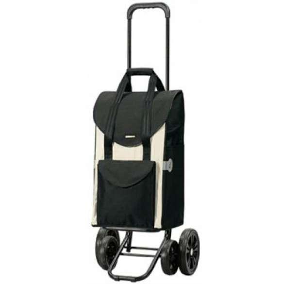 Quattro Shopper Senta boodschappenwagen zwart/ivoor