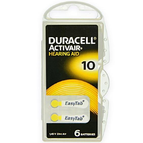 Duracell DA10 hoorapparaat batterij - Geel