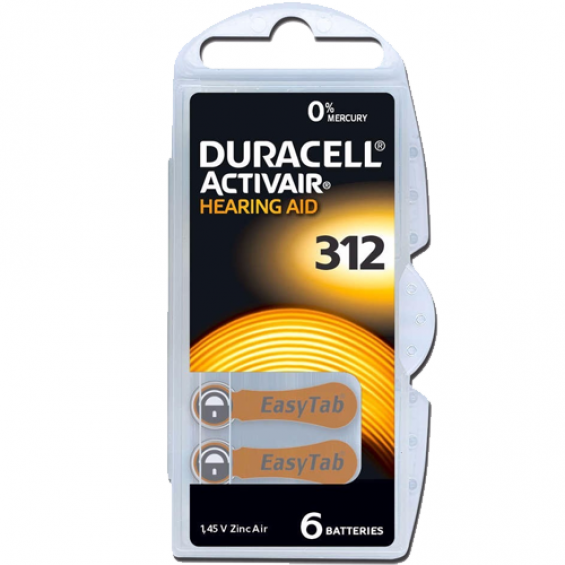 Duracell DA312 hoorapparaat batterij - Bruin