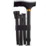 Opvouwbare wandelstok houten greep - Zwart