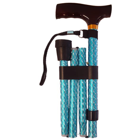 Opvouwbare wandelstok houten greep - Blauw schubben