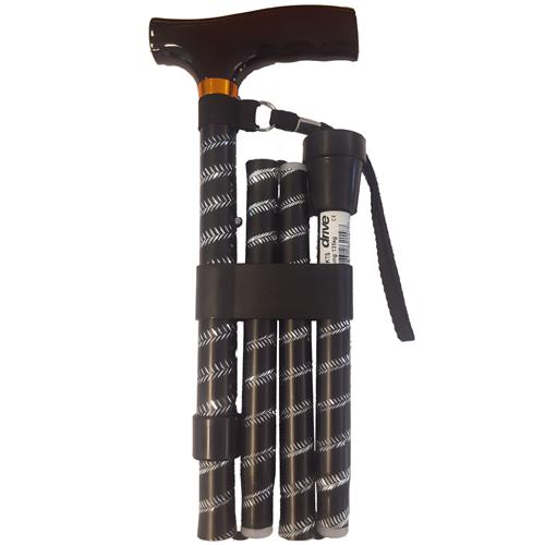 Opvouwbare wandelstok houten greep - Zwart spiraal