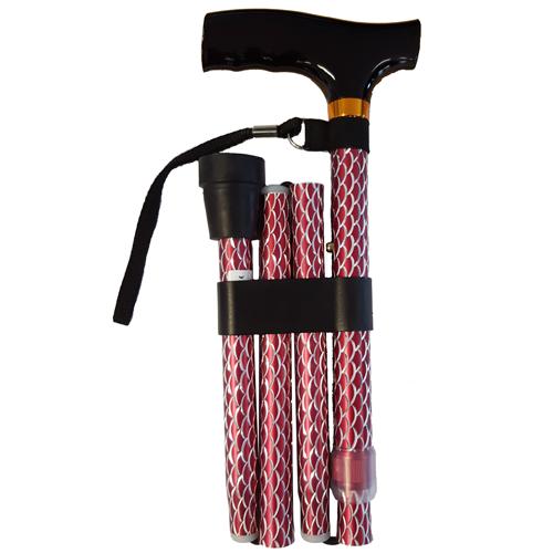 Opvouwbare wandelstok houten greep - Rood schubben