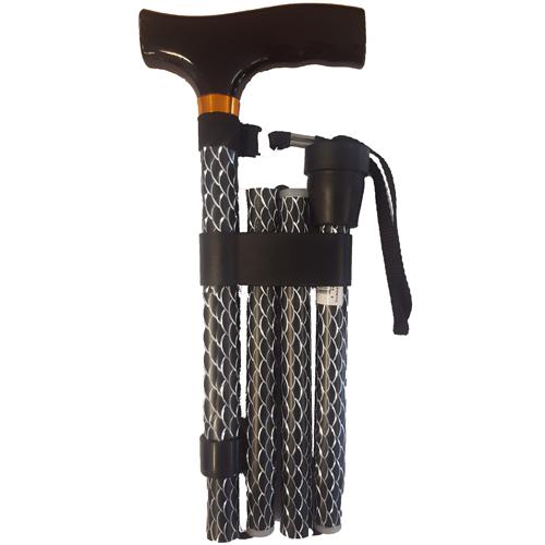 Opvouwbare wandelstok houten greep - Zwart schubben