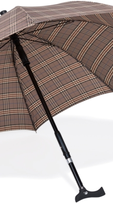 Parapluwandelstok bruin ruiten